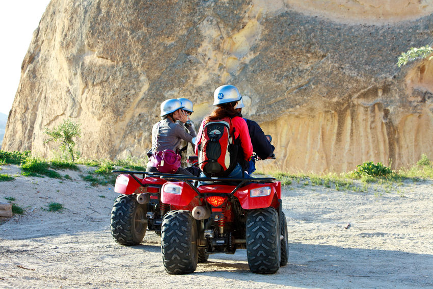 Quad bikes Cappadocia Anatolia Turkey Adult Adults Only Adventure Day Friendship Full Length Headwear Leisure Activity Motorcycle Racing Motorsport Nature Outdoors People Quad Bike Quad Biking Togetherness Tree Turkey Two People Vacations Young Adult