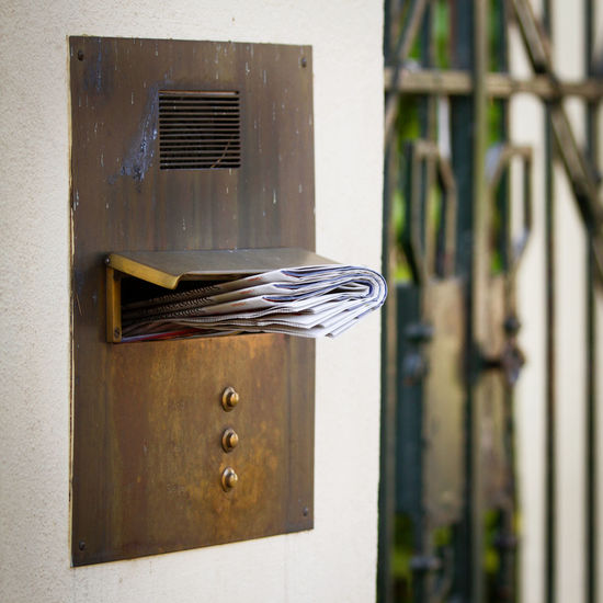 Close-up Day Door Bell Entrance Gate Filled Mailbox Hardware Home House Letters Mailbox Newspaper No People Outdoors Post Postbox Rich