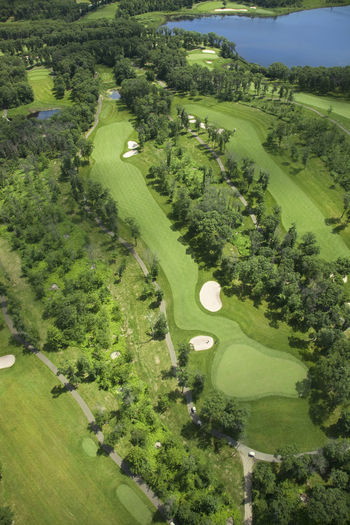 Aerial View Fairway Fall Golf Golf Course Green Green Color Lake Landscape Leaves Minnesota No People Sand Trap Scenics Trees USA Water