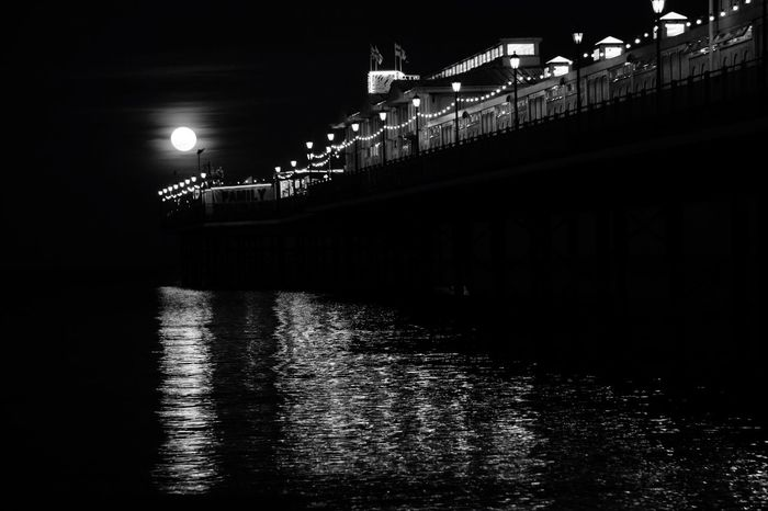 Architecture Illuminated Built Structure Waterfront Building Exterior No People Sky River Water Outdoors Bridge - Man Made Structure Paignton Beach Paignton Pier Moon Pink Moon EyeEmNewHere