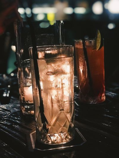 Nightlife Nightphotography Night Bar Close-up Still Life Table Glass Drink Glass - Material Drinking Glass Refreshment Focus On Foreground Alcohol Cold Temperature Container