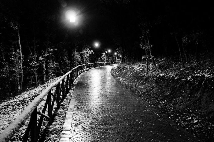 Maxepersonalphoto Lifeintechnicolor Gennaio  2018 HDR Lights Italia Nightphotography Suditalia Streetphotography Landscape EyeEmNewHere Blackandwhite Basilicata Potenza Snow Romantic Shades Of Winter Night The Way Forward Outdoors Moon Illuminated Nature Tree Sky No People Star - Space Astronomy HUAWEI Photo Award: After Dark
