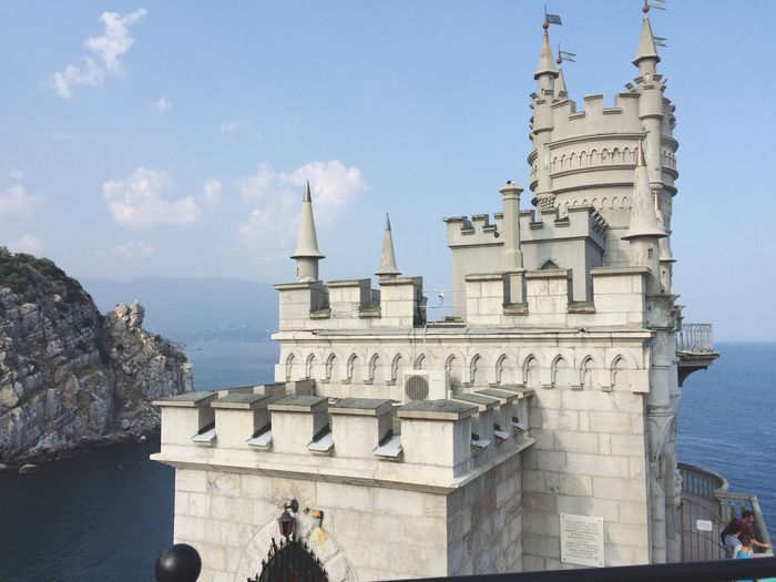 Beautiful Gorgeous Castle Breathtaking View Architecture Sea And Sky Mountain White Lostochkino Gnezdo in Crimea , Russia
