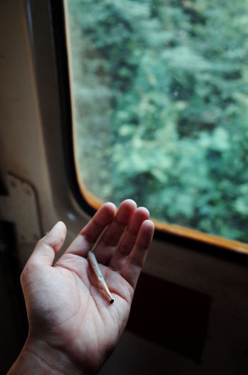 Life Style Trip Cigarette  Enjoying Life Focus On Foreground Get High Hand Human Body Part Human Finger Human Hand Mode Of Transportation One Person Outdoors Personal Perspective Real People Rolling Joint Smoke Weed Train Transportation Unrecognizable Person Vehicle Interior Window