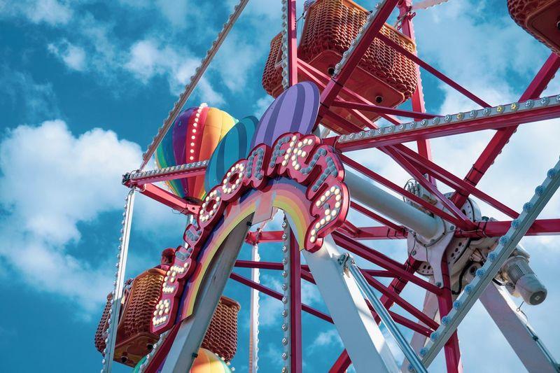 Ferris wheel are always cute Sky Low Angle View Amusement Park Cloud - Sky Amusement Park Ride Arts Culture And Entertainment Nature Day Outdoors Architecture Metal Built Structure Leisure Activity Fun Enjoyment Ferris Wheel Carousel Chain Swing Ride