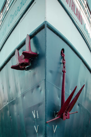 High angle view of red umbrella on glass window