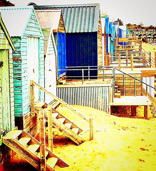 Beach Huts And Sky Built Structure Abersoch British Holidays Blue Colours Sand Sailing Sailing Club