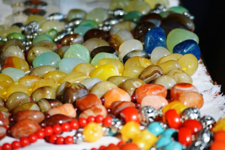 Close-up of necklace for sale at market stall