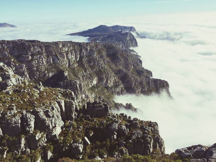 Table mountain Rock - Object Nature Rock Formation Beauty In Nature Scenics Geology Physical Geography Sky Outdoors Day No People Tranquil Scene Power In Nature Mountain Tranquility Cliff Water Travel Destinations Low Angle View Landscape