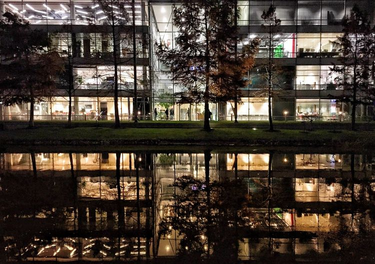 After work hours Late Evening Full Frame Mirrors Park Office Park Office Building Business Building Work Lake Tree Building Exterior Built Structure No People City Water