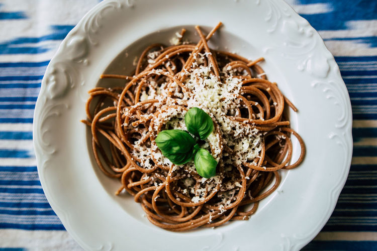 Basil Appetizing  Close-up Delicious Directly Above Food And Drink Freshness Healthy Eating High Angle View Indoors  Parmesan Pasta Ready-to-eat Serving Size Table Tasty Wholemeal Wholemealpasta