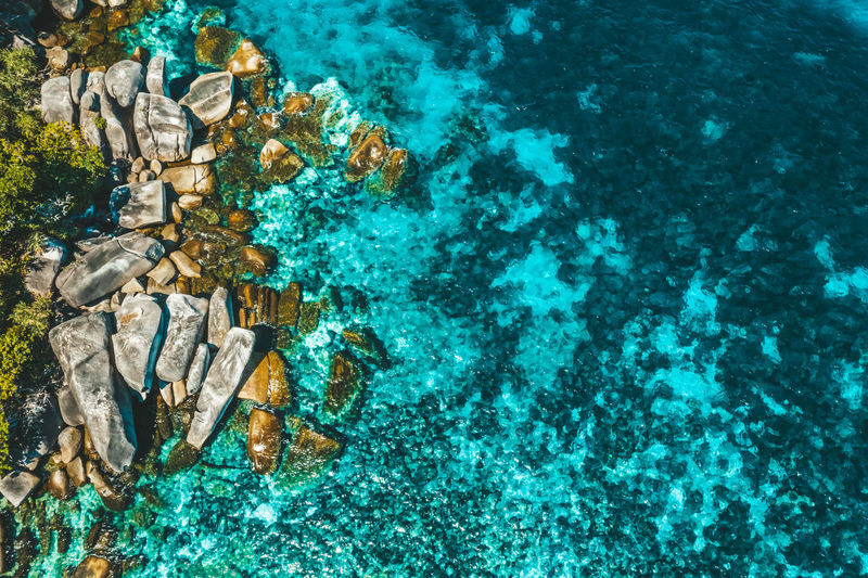 Aerial View of Boulder Island, Myanmar Landscape Indian Ocean ASIA Myanmar Nga Khin Nyo Island Boulder Island Andaman Island Burma Beach Top View Areal View Green Rock Stone Sea Life Marine Turquoise Colored Beauty In Nature Blue Day Outdoors Nature Sea Water