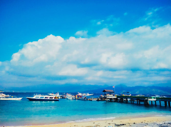 Gili Trawangan, Lombok, Indononesia. Cloud - Sky Water Sky Nautical Vessel Sea Transportation Waterfront Nature Beauty In Nature Mode Of Transportation Scenics - Nature Blue No People Day Tranquility Tranquil Scene Architecture Outdoors Pier Cruise Ship Nature Beauty In Nature Enjoying Life EyeEm Best Shots EyeEm Nature Lover