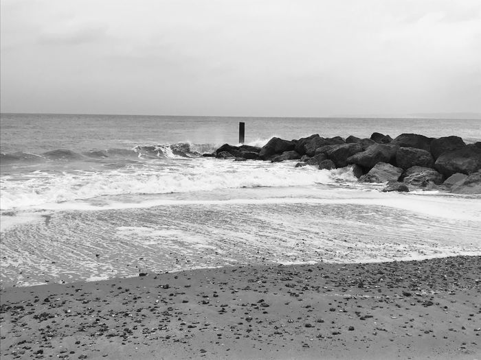 Beach days in winter Black And White Sea Horizon Over Water Beach Water Sand Beauty In Nature Nature Scenics Shore Outdoors Day No People Wave