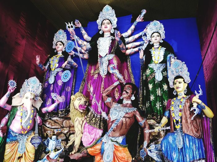 52ft Maa Durga Statue Human Representation Statue Spirituality Sculpture Art And Craft Religion Idol Indoors  Culture Temple - Building Creativity Multi Colored