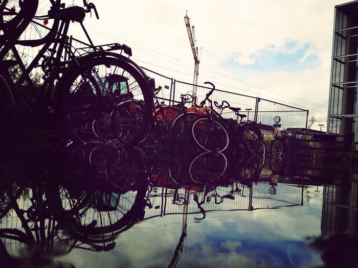 Bicycles in a pond