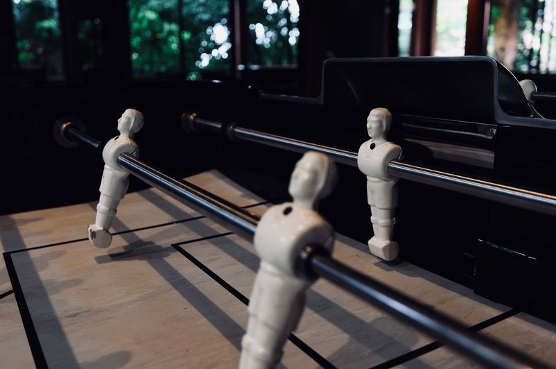 High angle view of figurine in foosball