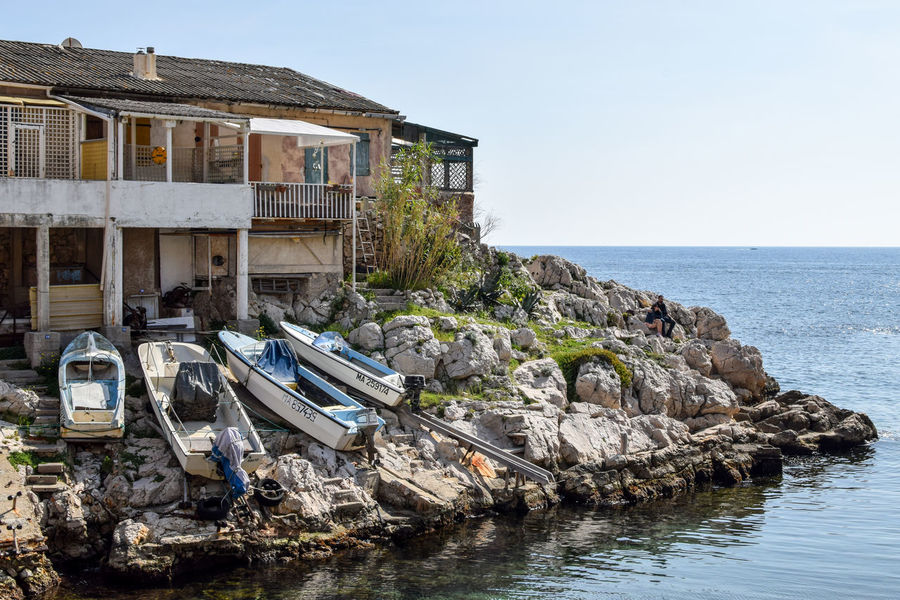 Architecture Beach Blue Sky Boat Built Structure Clear Sky Fisherman Boat House Nature No People Outdoors Sea Sky South Of France Water
