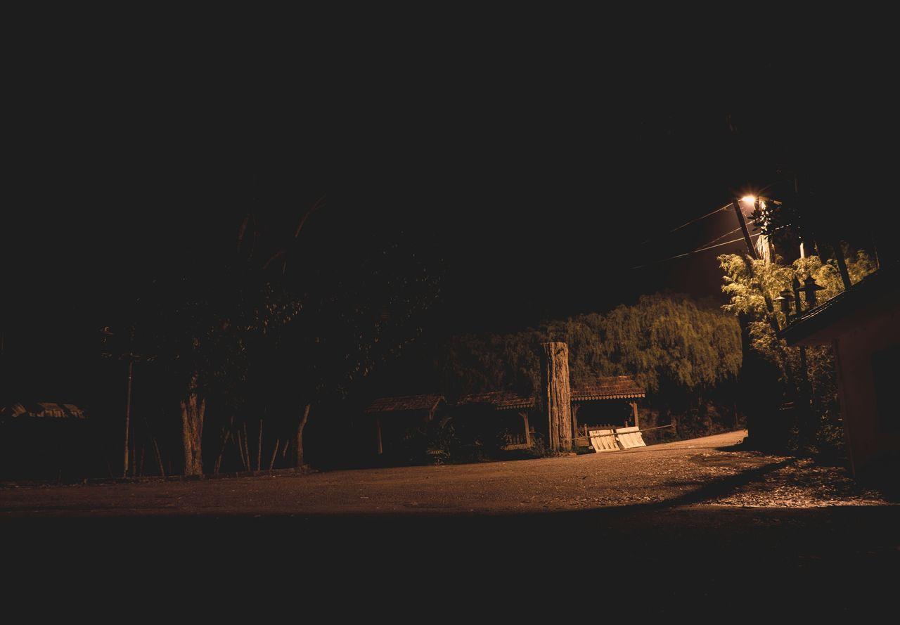 night, illuminated, dark, tree, no people, outdoors, nature, sky