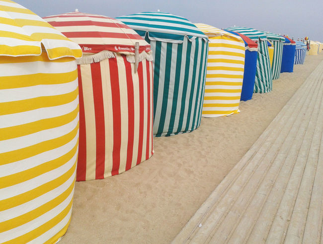 Beautiful Blue Colorful Day Design Fabric In A Row Multi Colored No People Outdoors Pattern Red Repetition Shadow Sky Striped Tent Vacations