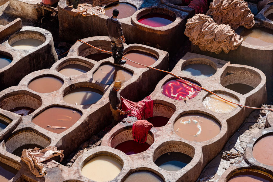 Fes Fez Morocco Medina Morocco Old Town Travel Craft Craftsmanship  Dye Fez High Angle View Medina De Fez Multi Colored Old Old City Tannery Travel Destinations