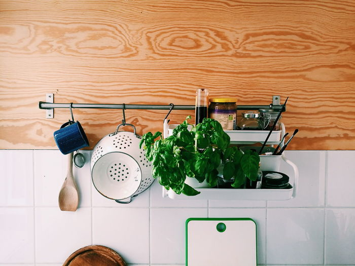 Potted plant with utensils on rack against wall in kitchen