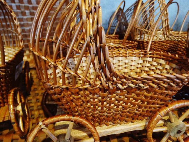 Wicker work. Pram Baskets Culture Arts Culture And Entertainment Art, Drawing, Creativity Wood - Material Wooden Brown Wicker Work Wickerwork Craft Art Art And Craft Wicker Basket No People Day Outdoors Large Group Of Objects Nature Close-up