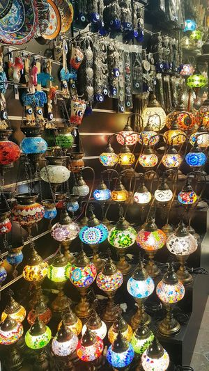 Illuminated decorations in store for sale in market