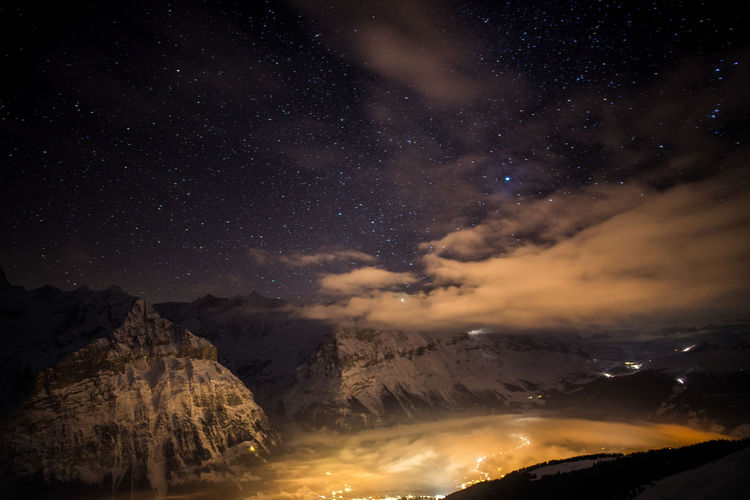 Scenics - Nature Night Beauty In Nature Astronomy Mountain Star - Space Tranquil Scene Tranquility Sky Space No People Galaxy Idyllic Nature Star Cloud - Sky Mountain Range Star Field Environment Majestic Milky Way Eigernordwand Eiger Grindelwald EyeEmNewHere