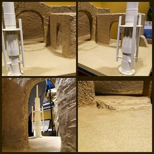 Sand added to Sandtooine next is weathering. Almost done. Tatooine Starwarstoyfigures Starwars Starwarsblackseries Blackseries Starwarstheblackseries Ihatesand Moistureevaporators Moisturefarm Diorama