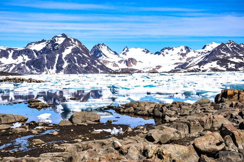 Kulusuk Greenland Water Cold Temperature Scenics - Nature Beauty In Nature Winter Sky Mountain Tranquility Tranquil Scene Snow Nature Day Frozen Landscape Environment Cloud - Sky Mountain Range Snowcapped Mountain No People Outdoors