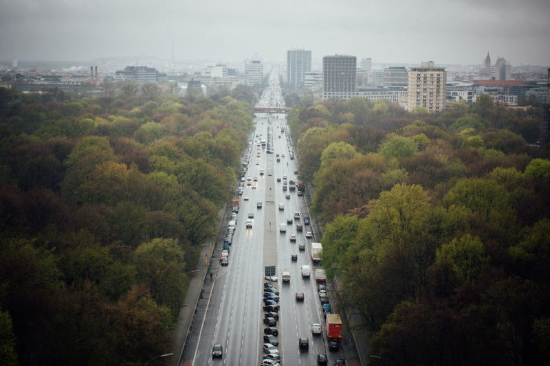 Berlin City City City Life Cityscapes Diminishing Perspective Elevated View From Above  Germany Green Color Horizon Looking Down No People Road Road Sky The Way Forward Traffic Tree Trees Vanishing Point Victory Column View From Victory Column The Architect - 2016 EyeEm Awards
