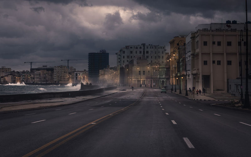 Road By Sea In City During Storm
