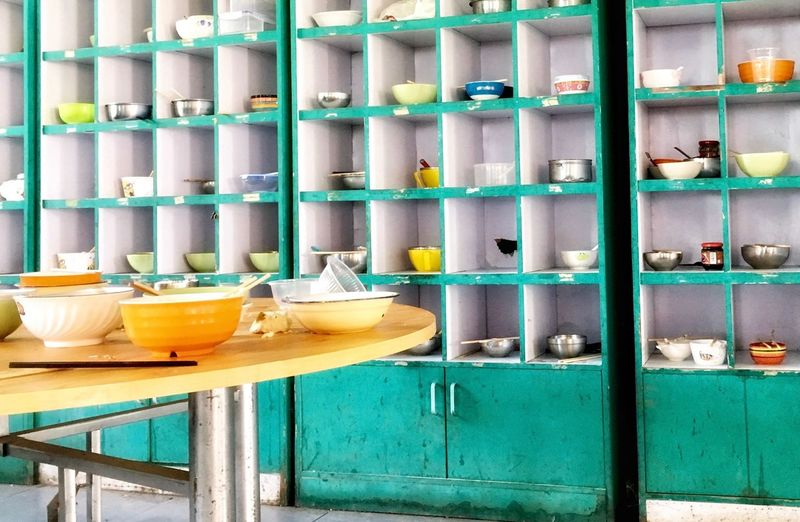 Bowls In Shelves At Home