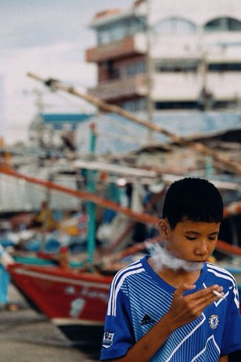 Life of huahin Thailand One Person Real People Childhood Child Focus On Foreground Day Standing Nautical Vessel Lifestyles Casual Clothing Architecture Men Transportation Boys Water