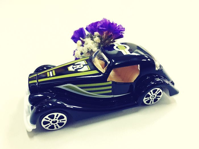 New Toy Studio Shot Flower White Background No People Car Toy Car Close-up Fragility Day