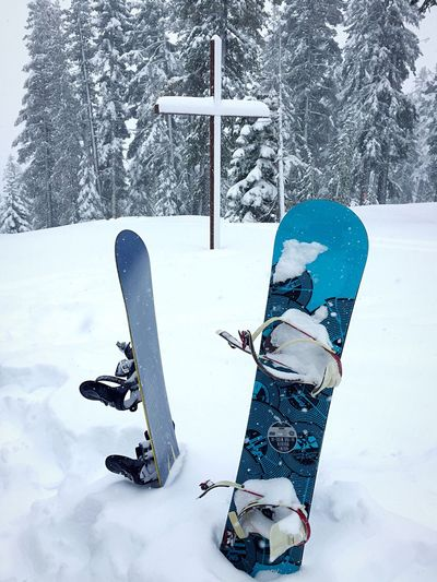 Snowboards at the Cross in Snow Cross Snow Snow ❄ Snow Day Snowboarding Snowy Snowy Trees Northstar Truckee  Truckee Lake Tahoe California Truckee, Ca IPhoneography IPhone Photography Iphonephotography Snow Covered Check This Out