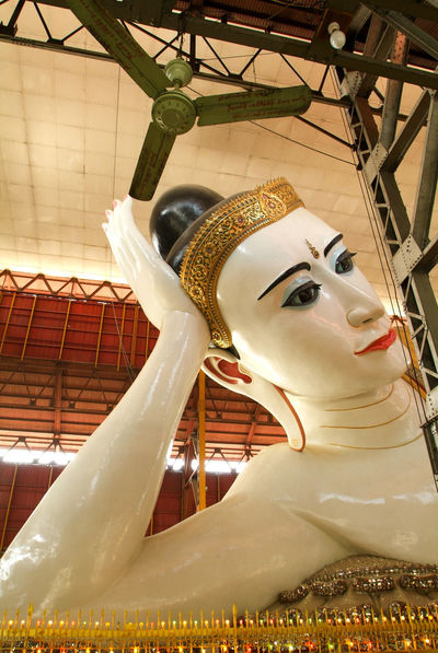 Buddha Pagoda Statue Yangon Art And Craft Buddhism Burma Carousel Chaukhtatgyi Day Human Representation Indoors  Myanmar No People Prying Sculpture Statue Temple