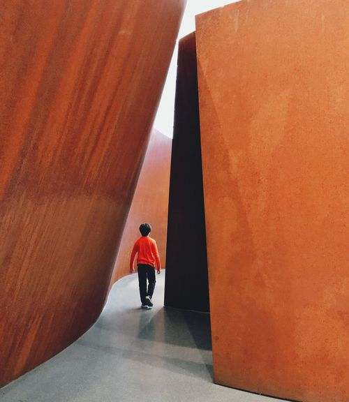 At the SFMOMA Walking Path Unknown Mystery Walk Away Go Inside The Light Go Inside Child Boy Explore Museum Sculpture Adventure ArtWork Modern Art Architecture