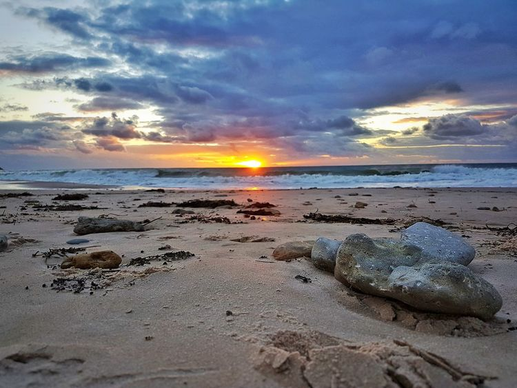 Beach Sea Sand Water Tide Reflection Horizon Over Water Tranquil Scene Sunset No People Beachphotography Clouds And Sky Enjoying The Beach Sunset_collection Beach Rock Waves And Rocks Seashore