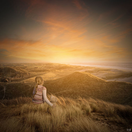 hope Twilight Sea Grass Mountain Sky Sky And Clouds Colors Lucky's Colors Lucky's Fantasy Girl Child Teddy Bear Sunrise Sun Mood Happy New Year Photomanipulation Photoshop Atmospheric Mood Hope Melancholic Landscapes Melancholy Sadness Tranquility Tranquil Scene Beauty In Nature Nature Square One Woman Only Landscape