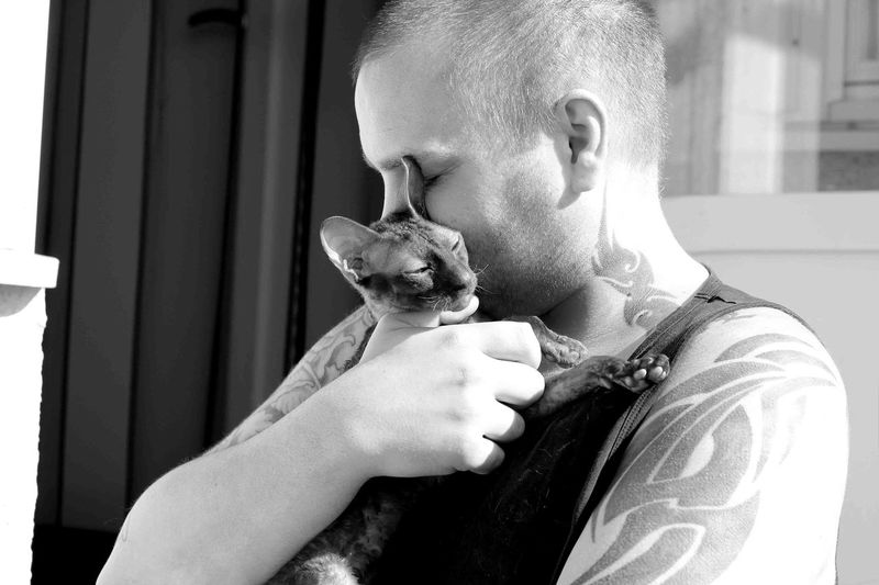 Man embracing cat in sunny day