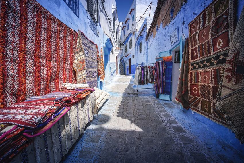 """The Blue City"" - Chefchaouen, Morocco. Chefchaouen Chefchaouen Medina Medina Morocco MoroccoTrip EyeEmNewHere a new beginning Digital Nomad Travel Travel Destinations Traveling Travel Photography Photography Blue City Alley Maze Arabic Moroccans Tourism Tourist Attraction  Tourist Destination Architecture Building Exterior Built Structure Street The Way Forward Day Direction Building No People Shadow Nature Sunlight Graffiti Narrow Outdoors Residential District Wall Absence"
