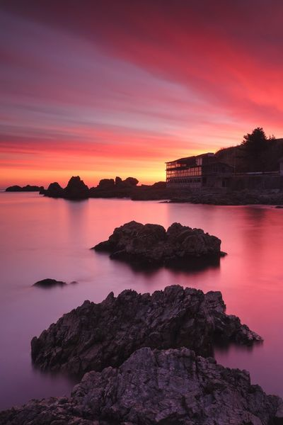 Morning Sunrise Sea Reflection Purple Water Horizon Over Water Sky Beauty In Nature Rock - Object Nature No People Outdoors Landscape
