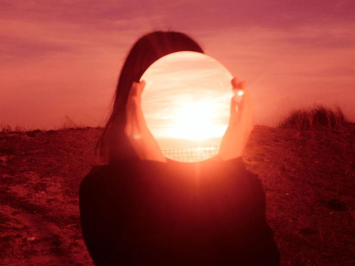 Sunset Desert Silhouette Sunlight Sun Red Sky Close-up Optical Illusion Sand Dune Shining Arid Landscape Atmospheric Illusion