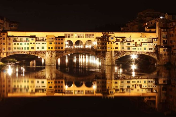 Beautifully Organized leya bridge reflection lights Florence City Travel Destinations Travel Night Outdoors Water
