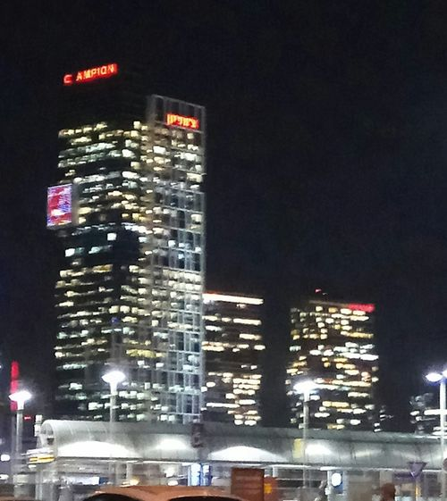 Night Illuminated City Skyscraper Nightlife Building Exterior Cityscape
