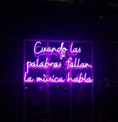Illuminated sign on display at store
