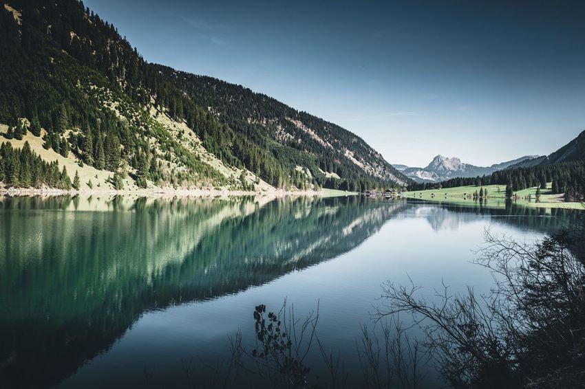 Am Vilsalpsee Berge Alpen Alps Austria Tannheimer Tal Tyrol Vilsalpsee Landschaft Landscape Water Reflection Sky Scenics - Nature Lake Beauty In Nature Tranquility Mountain Tree Tranquil Scene Idyllic Day Mountain Range Reflection Lake Nature