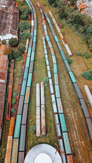 High angle view of abandoned trains at shunting yard